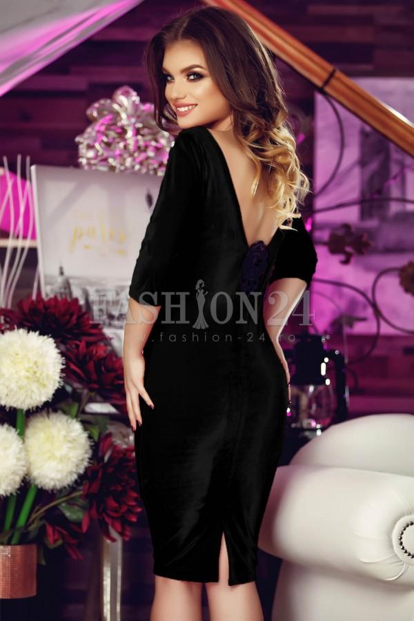 Rochie De Seara Velvet Roses Black