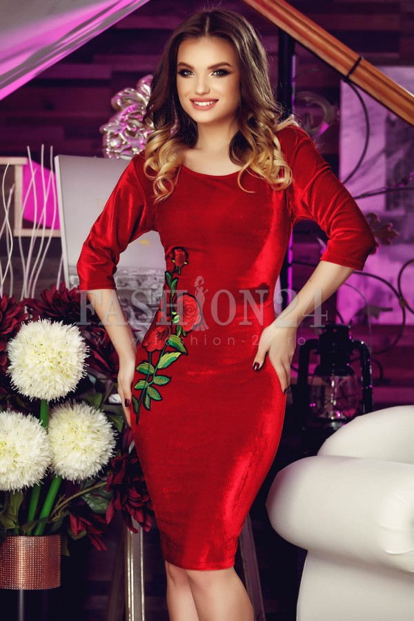 Rochie De Seara Velvet Roses Red