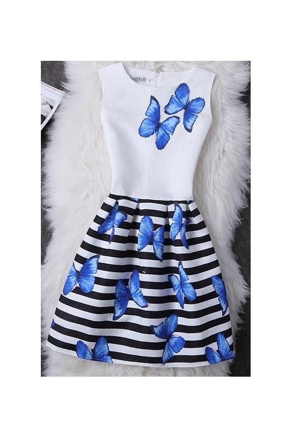 Rochie Cu Imprimeu Blue Butterflies
