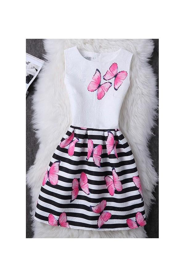 Rochie Cu Imprimeu Pink Butterflies