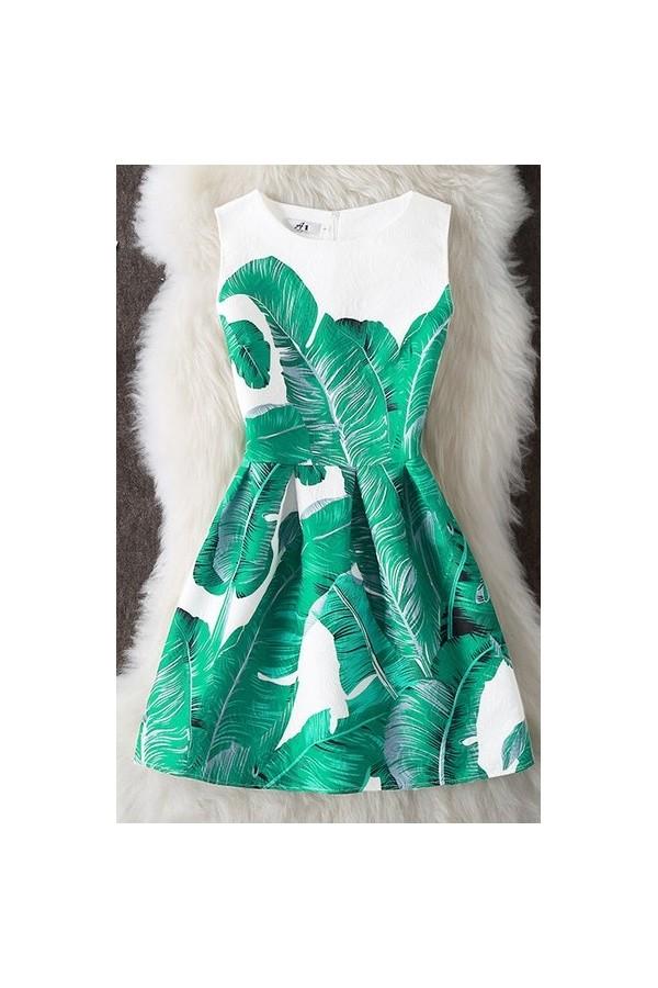Rochie Cu Imprimeu 3D Leaves