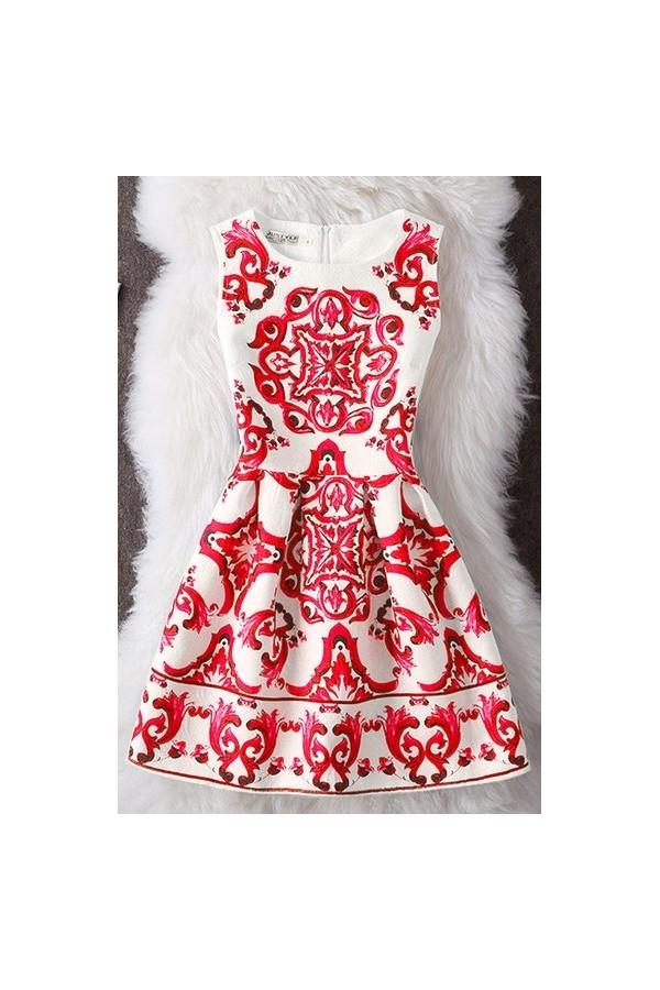 Rochie Cu Imprimeu New Dream Red