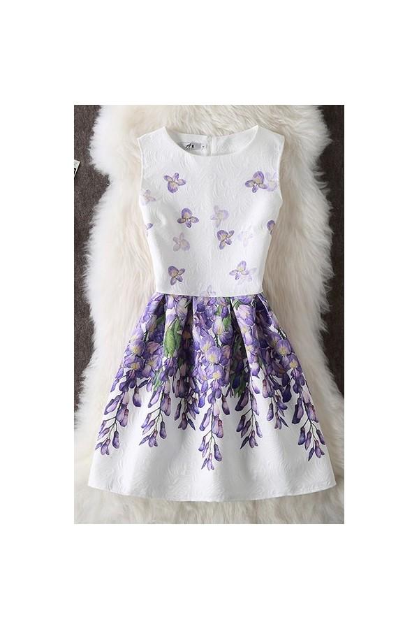 Rochie Cu Imprimeu Purple Leaves