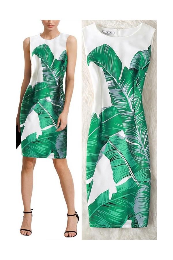 Rochie Cu Imprimeu 3D Leaves Long