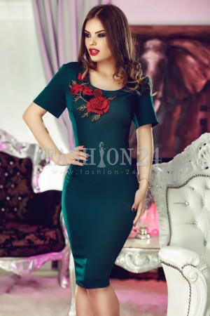 Rochie Green Embroidered