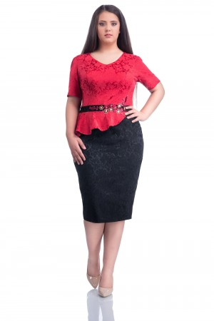 Rochie XXL Red Embroidered