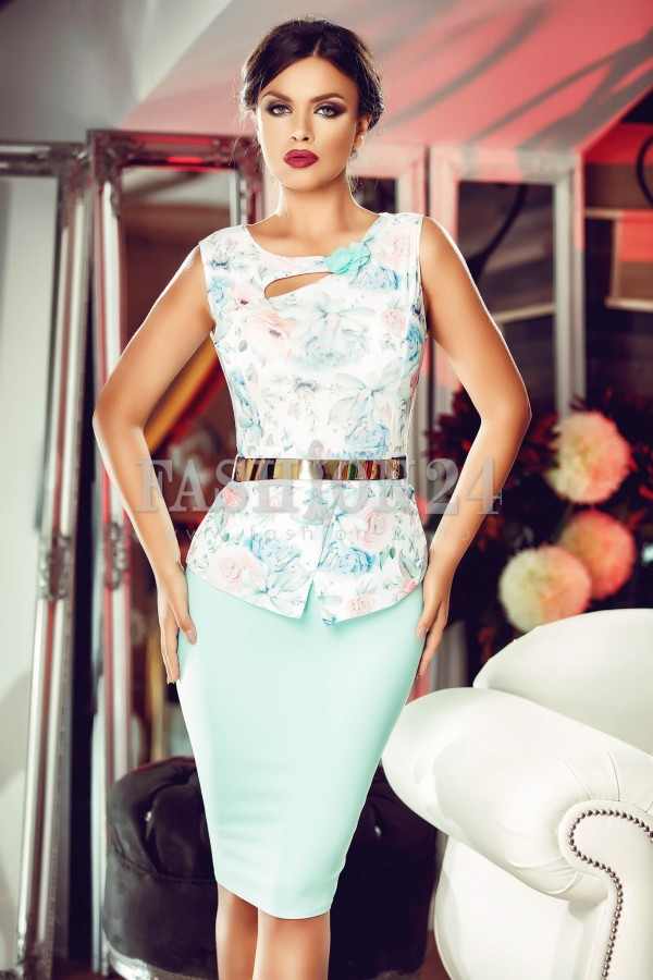 Rochie Turquoise Flowers